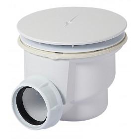 Сифон для душ.поддона, пластик, под отверстие в поддоне D90мм. Универсальный (для поддонов керамика/акрил/сталь), декор. крышка из ABS хром. Слив на 40мм.