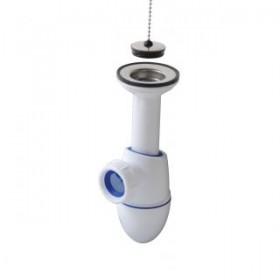 Сифон для раковины Easyphon с выпуском, запресованные прокладки, регулируемая высота, решетка из нерж. стали с пробкой, подключение 1 1/4