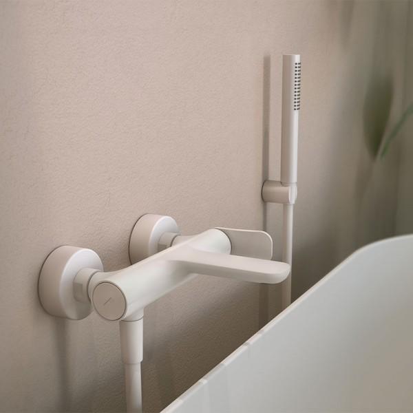 Смеситель для ванны белый наружного монтажа Carlo Frattini Flo