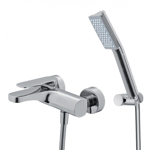 Смеситель для ванны хромированный с душевым гарнитуром Carlo Frattini Quad F3724CR