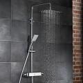 Душевой гарнитур AquaSwitch SOFTCUBE Thermostat - термостат с зеркальной стеклянной полочкой и кнопочным переключением, стойка, верхний душ (прямоугольный 300х200х2), шланг, ручной душ (прямоугольный) /100198015/