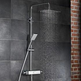 Душевой гарнитур AquaSwitch SOFTCUBE Thermostat - термостат с белой стеклянной полочкой и кнопочным переключением, стойка, верхний душ (прямоугольный 300х200х2), шланг, ручной душ (прямоугольный) /100198007/