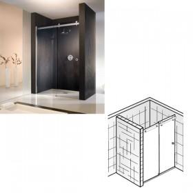 Дверь в нишу Atelier Pur 140х200 , стационарная часть слева , дверь справа , стекло прозрачное с антигрязевым покрытием EG, профиль хром, раздвижная  /AP.30 EG/, EG/ ручка квадрат. Ширина входа около 645 мм