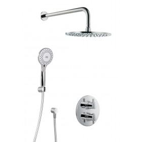 Душевой комплект Shower Set 1.04 круглый, термостат, настенный держатель, верхний душ, круглый диаметр 250 мм, ручная лейка 5 режимов, шланг 1,5 м, настенный держатель , подвод воды , внутренняя часть /1000104/