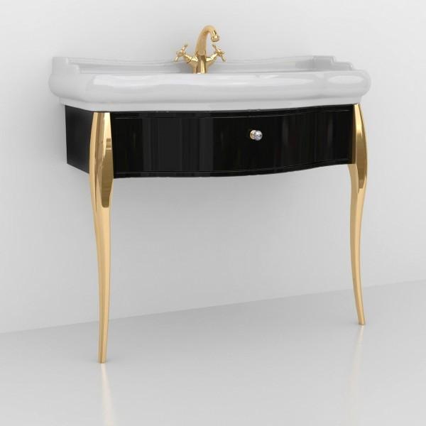 Мебель под раковину RETRO на 100 см , черная, ножки золото/7363К4/