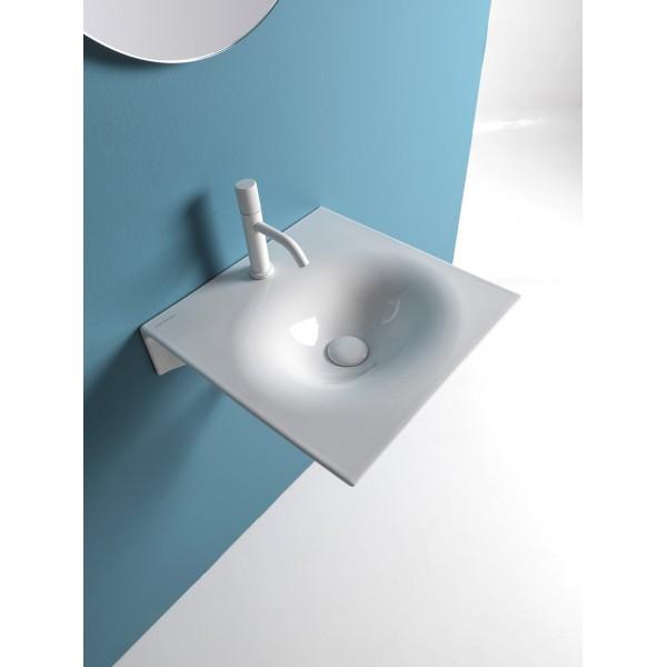 Белая глянцевая керамическая раковина Scarabeo Veil 6101 46х46 см