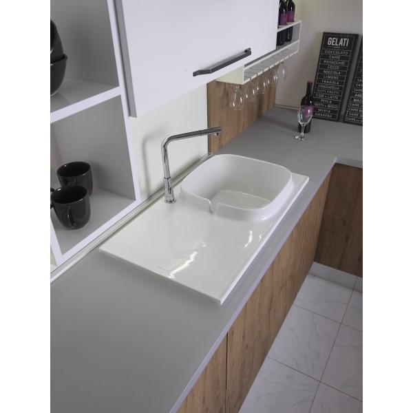Раковина для кухни с покрытием Bioker 50х86 cм Scarabeo 1890 SHELF DX ВК