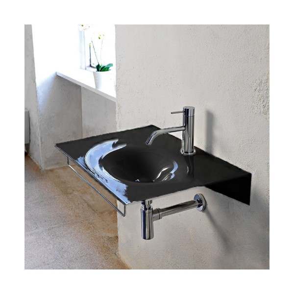 Чёрная глянцевая керамическая раковина Scarabeo Veil 610235 60.5х46 см