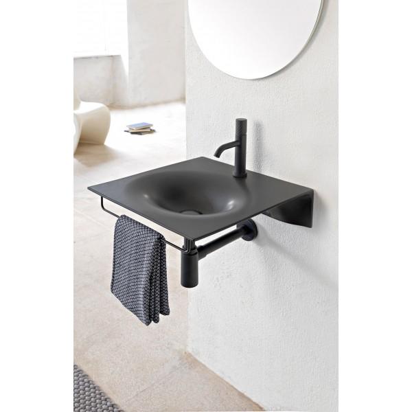 Чёрная керамическая подвесная раковина 610249 Scarabeo Veil 60.5х46 см