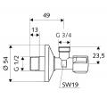 """Угловой вентиль для подключения стиральной машины SCHELL COMFORT 1/2""""х3/4"""",хром /033000699/"""