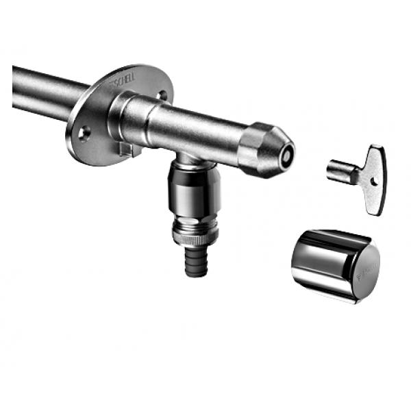 Кран водоразборный морозоустойчивый с ключом для крепления на улице POLAR SCHELL 1/2,хром /039780699/039950399/