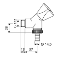 Кран водоразборный 1/2 х 3/4 для стиральной машины и пр  SCHELL, хром /038860699/