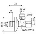 Угловой вентиль 1/2 х 3/8 дюйма SCHELL COMFORT,хром /049070699/