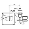"""Угловой вентиль с встроенным фильтром 1/2""""хD10 для подключения смесителя ,хром /049490699/"""
