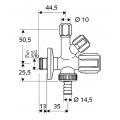 Кран угловой комбинированный Schell ASAG 1/2 035450699