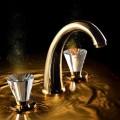 Смеситель золотой для раковины Maier Artik на три отверстия 72 005M Maier