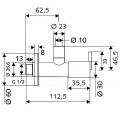 Угловой дизайнерский вентиль SCHELL PURIS ,DN 15 G 1 / 2 дюйма х DN 10 G 3 / 8 дюйма ,хром, с палочками  /053110699/