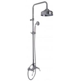 Душевая стойка Herend,хром, в ком-те: стойка, шланг 1500 мм, ручной душ, верхняя лейка-круглая, смеситель для душа/F5405/2CR/