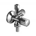 """Угловой вентиль комбинированный 1/2""""/3/8/3/4 для подключения холодной воды и бытовой техники , хром /035510699/"""