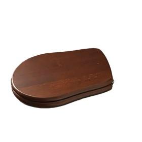 Крышка для унитаза RETRO с микролифтом , деревянная, крепеж- хром , цвет-орех /108840/