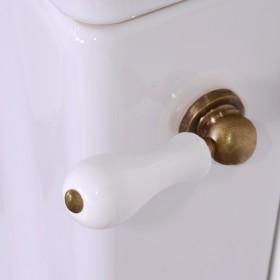 Механизм слива для бачка с боковой ручкой, ручка белая, цвет бронза /754293 /