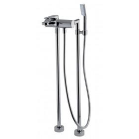 Cмеситель Quad  для ванны напольного монтажа  с душевым комплектом, черный матовый /F3724/4NS/