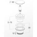 Выпуск для умывальника универсальный, автомат  CLIC CLAC, хром латунь, 1 1/4 /L32UM/0501172/